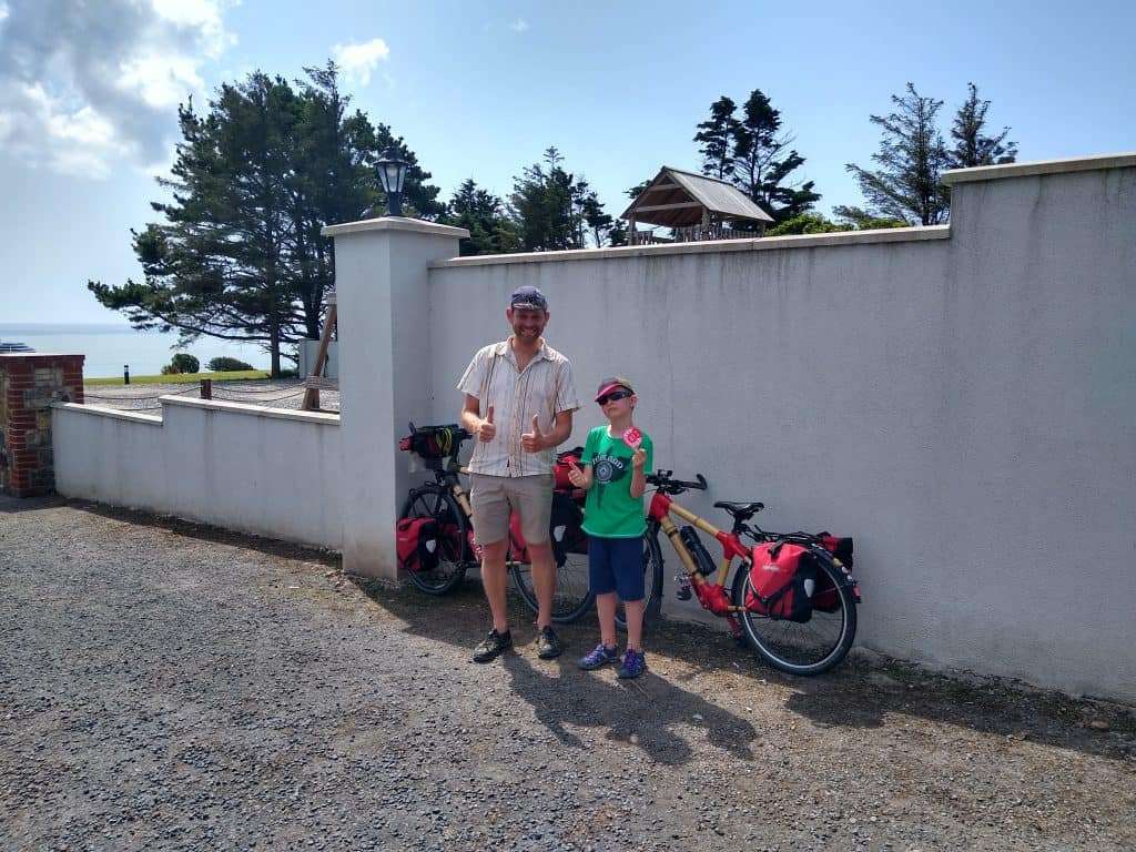 Dad and son with their bikes before departing, R has his Brevet 1000 badge
