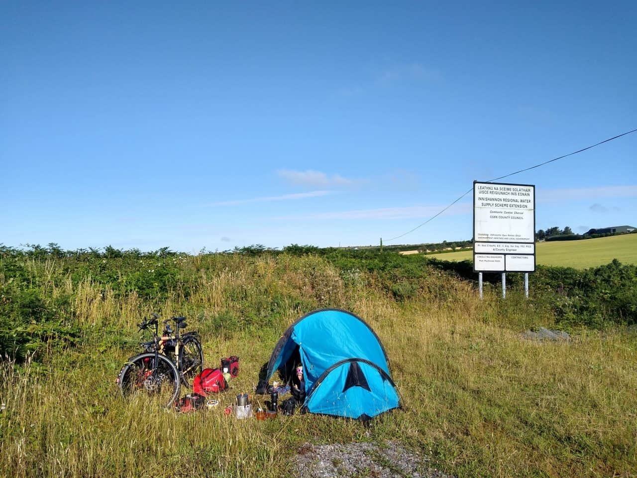 Wild camping by side of road in layby